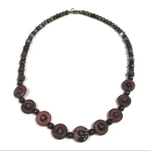 Earth-toned Polished Stone Bead Necklace